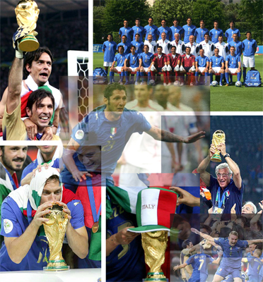 ITALY the FIFA world champions in Germany 2006, thanks to a great team, excelent tactical and psicologycal system applied by MARCELLO LIPPI AIAC coach, Fabio Grosso kicking the last penalty and goal Italy it's the new World Champions after a great football soccer campaign MANAGE by AIAC COACH Marcello Lippi, following the National Italian team players: Gianluigi Buffon, Gianluca Zambrotta, Fabio Cannavaro, Marco Materazzi, Fabio Grosso, Andrea Pirlo, Genaro Gattuso, Mauro Camoranesi, Alessandro Del Piero, Francesco Totti, Daniele De Rossi, Simone Perrotta, Luca Toni, Vincenzo Iaquinta, Peruzzi, Amelia, Oddo, Barzagli, Barone, Gilardino, Pippo Inzaghi, Coach Marcello Lippi 2006 FIFA WORLD CUP CHAMPIONS Italy, the actual World Champions (Germany 2006) and 04 times winner of the Soccer World Champions. World Champions in Italy 1934 (Coach: Vittorio Pozzo); France 1938 (Coach Vittorio Pozzo) World Champions Spain 1982 (Coach Enzo Bearzot); Germany 2006 (Coach Marcello Lippi)